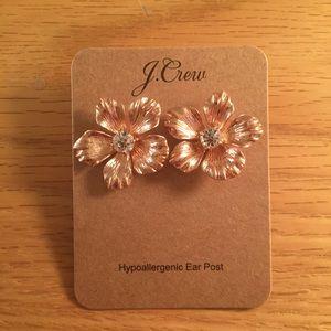 J crew pansy rose gold flower earrings